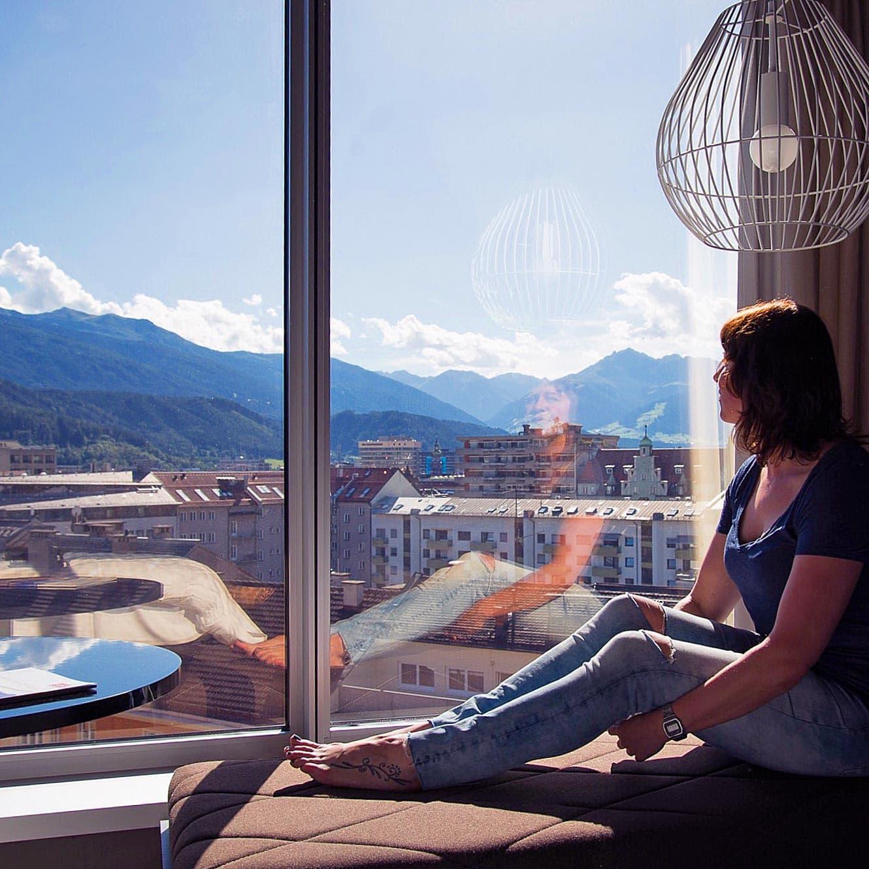 Het uitzicht vanuit aDLERS Hotel Innsbruck is geweldig