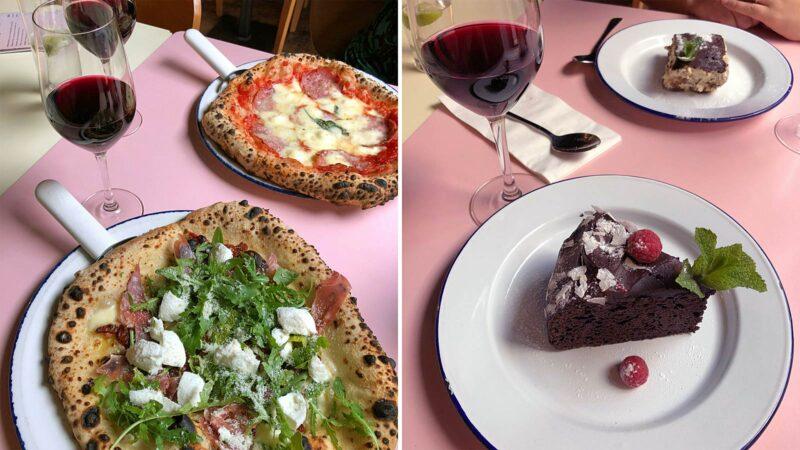Pizza en rode wijn bij PLY Manchester