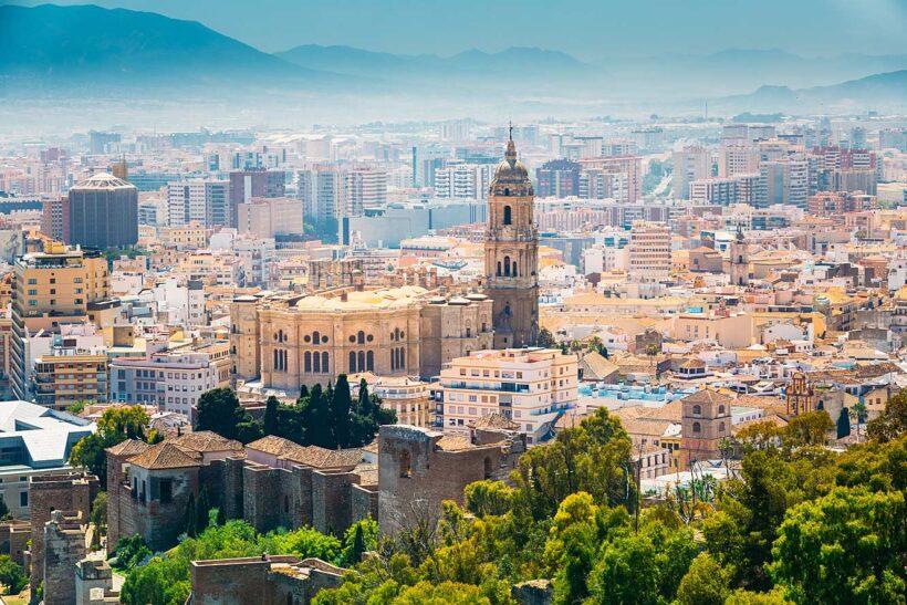 Het stadsgezicht van Malaga